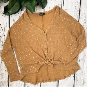 Rachael Mustard Yellow Knot Knot Tie Vneck Sweater